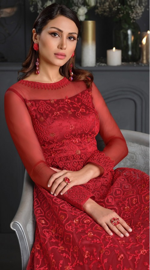 stylddm146-2978 Red color semi stitched Exclusive Designer Partywear Gown