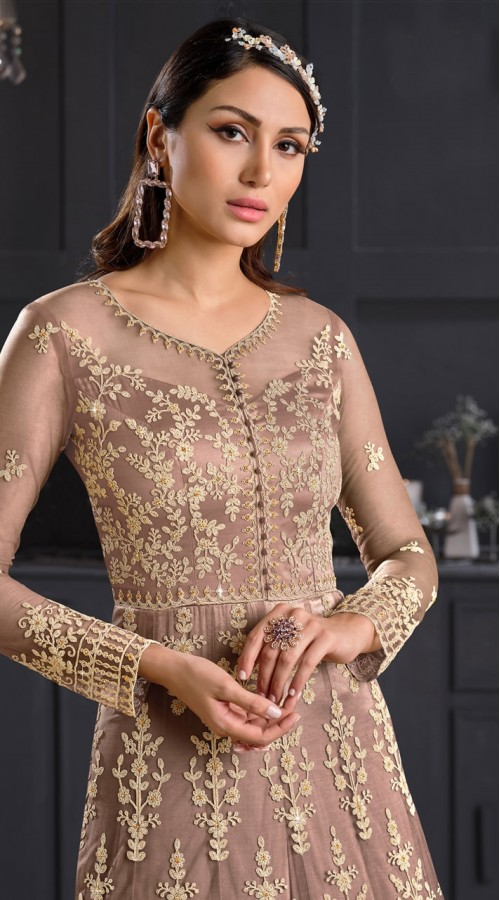 stylddm146-2979 Beige color semi stitched Exclusive Designer Partywear Gown