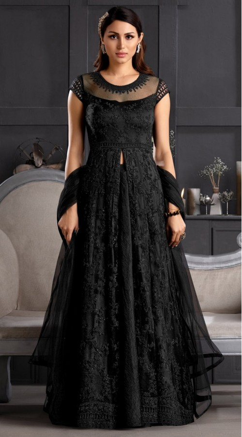 stylddm146-2981 Black color semi stitched Exclusive Designer Partywear Gown