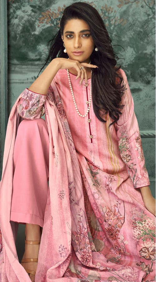 stylddm150-3003 Pink Color Exclusive Velvet Digital Printed Suit