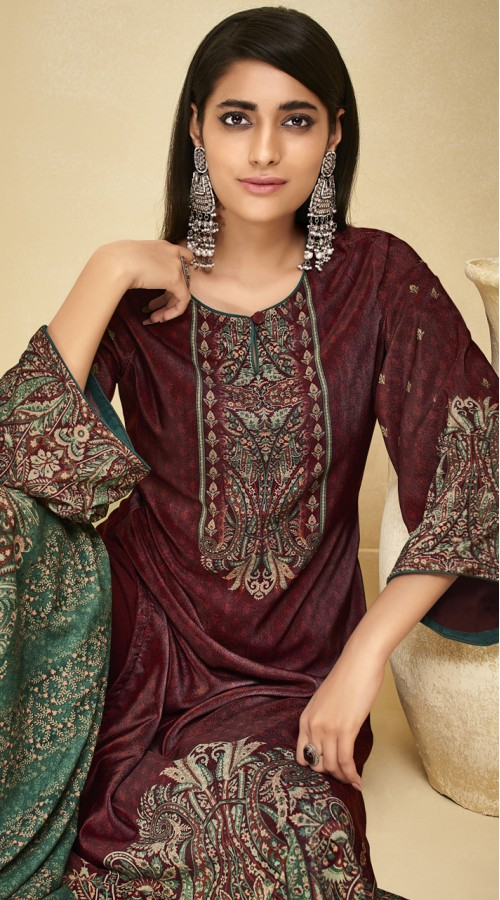 stylddm151-3009 Maroon Color Exclusive Velvet Digital Printed Suit