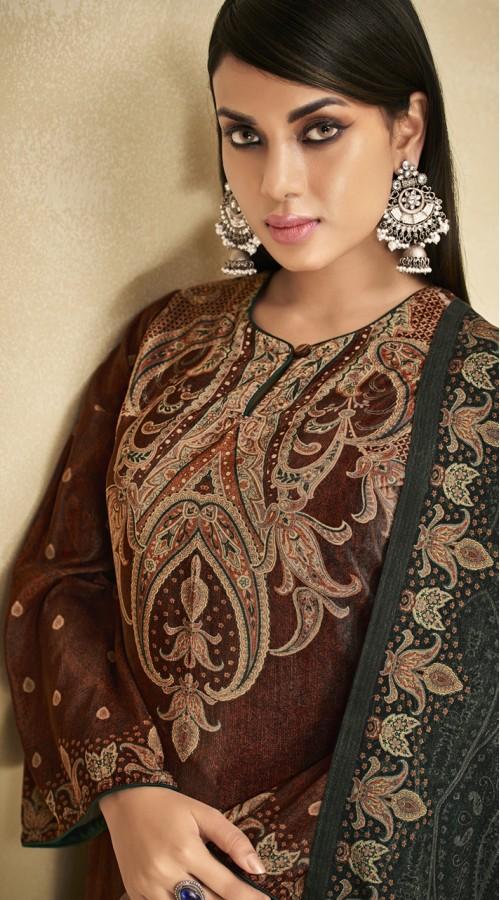 stylddm151-3012 Brown Color Exclusive Velvet Digital Printed Suit