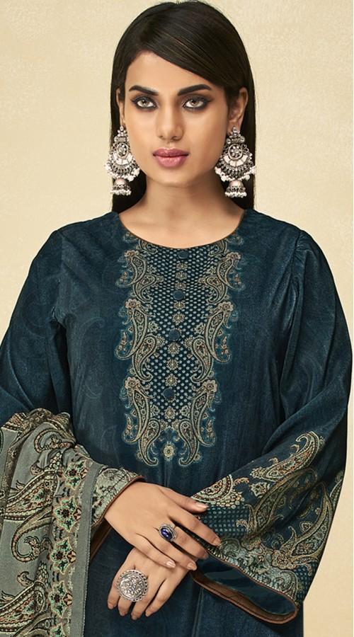 stylddm151-3014 Navy Blue Color Exclusive Velvet Digital Printed Suit