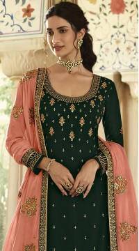 stylddm152-3017 Green color Semi Stitched Exclusive Designer Partywear Salwar Suit