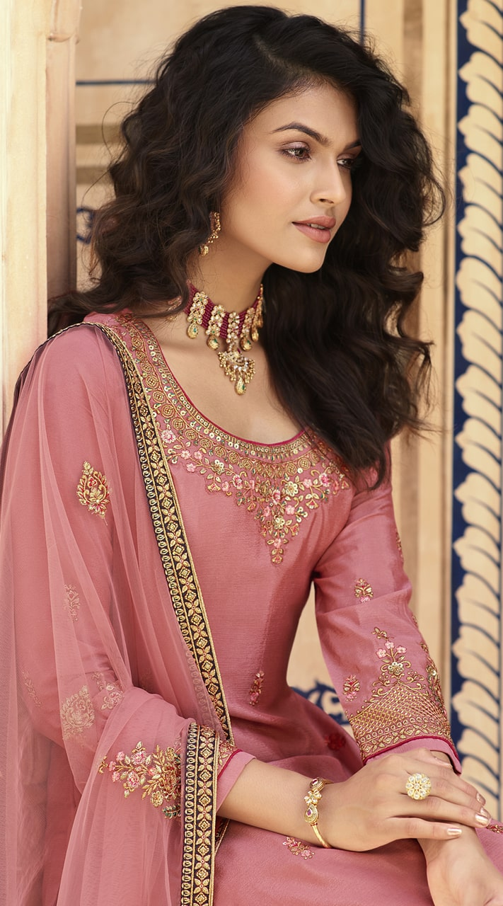stylddm152-3018 Pink color Semi Stitched Exclusive Designer Partywear Salwar Suit