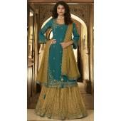 stylddm152-3021 Teal color Semi Stitched Exclusive Designer Partywear Salwar Suit