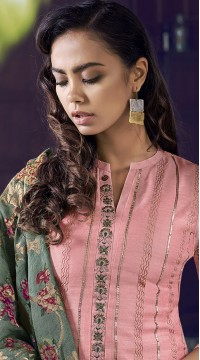 stylddm77-2437 peach color semi stitched Exclusive Designer Partywear Salwar Suit