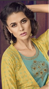 stylddm77-2438 yellow color semi stitched Exclusive Designer Partywear Salwar Suit