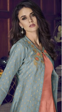 stylddm77-2440 Turquoise Blue color semi stitched Exclusive Designer Partywear Salwar Suit