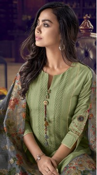 stylddm77-2441 green color semi stitched Exclusive Designer Partywear Salwar Suit