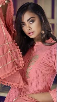 stylddm77-2442 peach color semi stitched Exclusive Designer Partywear Salwar Suit