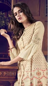 stylddm77-2443 cream color semi stitched Exclusive Designer Partywear Salwar Suit
