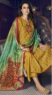 stylddm77-2444 yellow color semi stitched Exclusive Designer Partywear Salwar Suit