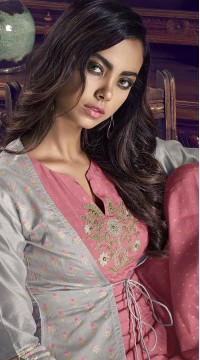 stylddm77-2445 grey color semi stitched Exclusive Designer Partywear Salwar Suit
