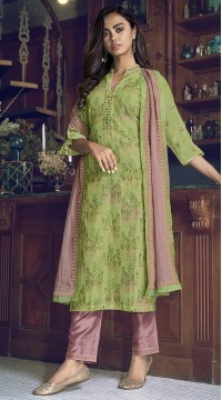 stylddm77-2446 green color semi stitched Exclusive Designer Partywear Salwar Suit