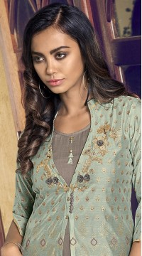stylddm77-2447 green color semi stitched Exclusive Designer Partywear Salwar Suit