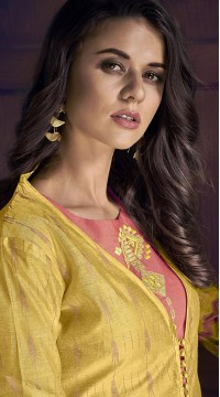 stylddm77-2448 yellow color semi stitched Exclusive Designer Partywear Salwar Suit